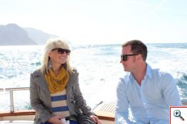 Jenny and Nick enjoying our boat ride from Capri to Positano
