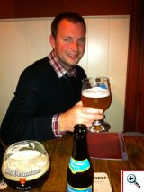 Nick drinking beer at Cafe Rose Red in Brugge