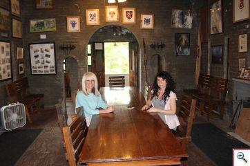 Jenny and Jill at the Loveland Castle table