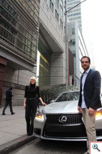 Jenny and Joe with the Lexus LS F Sport at Condé Nast Building