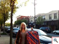 Jenny with her Amy Kirchen purchase on Main Street in Milford, OH