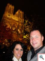 Jill and Nick outside Notre Dame in Reims at night