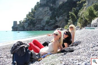 Jenny, Jill & Amber on the private beach in Positano