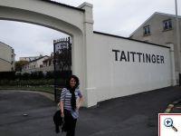Jill outside Taittinger in Champagne
